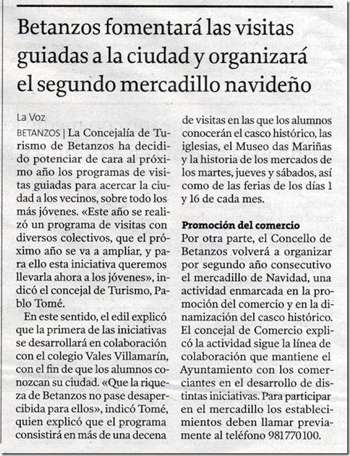 """Recorte do  xornal """"La Voz de Galicia"""" do martes 24 de novembro de 2009"""