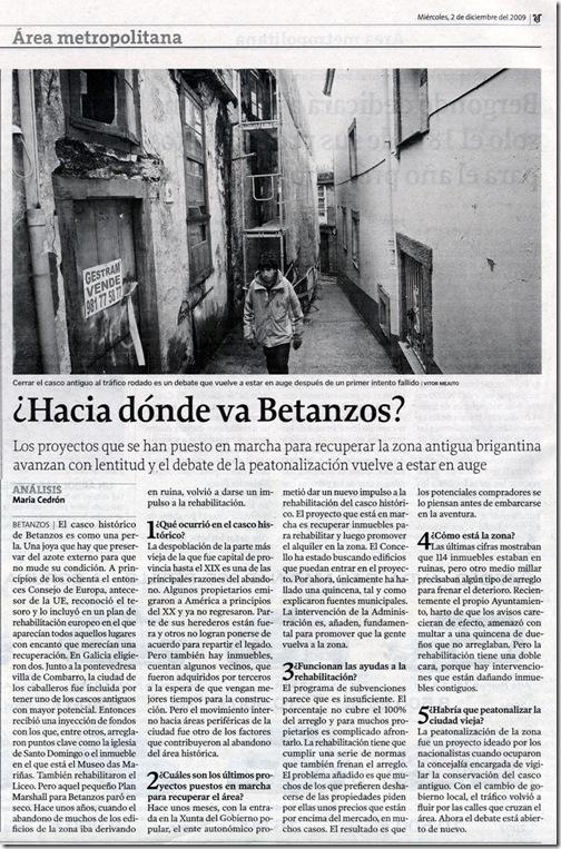 """Recorte do  xornal """"La Voz de Galicia"""" do mércores 2 de decembro de 2009"""