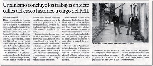 """Recorte do xornal """"El Ideal Gallego"""" do mércores 2 de decembro de 2009"""