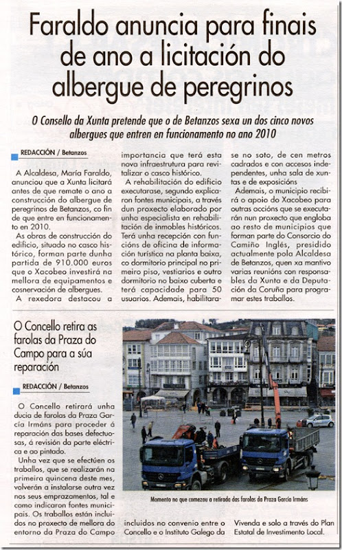 """Recorte do xornal """"Betanzos e a súa Comarca"""" correspondente ao mes de decembro de 2009"""