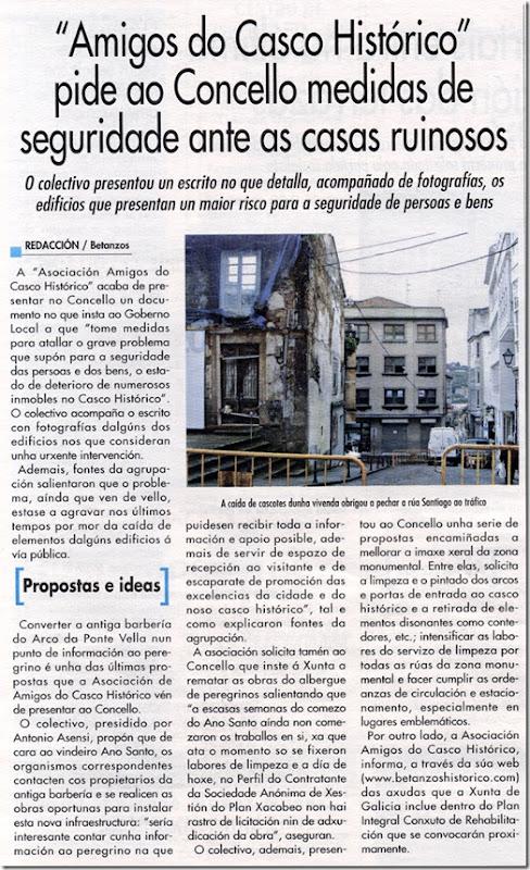 Recorte do xornal Betanzos e a Súa Comarca correspondente ao mes de decembro de 2009