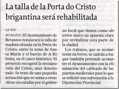 """Recorte do  xornal """"La Voz de Galicia"""" correspondente ao domingo 13 de decembro de 2009."""