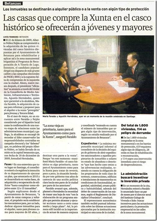 """Recorte do xornal """"El Ideal Gallego"""" correspondente ao  sábado 19 de decembro de 2009"""