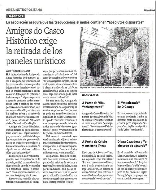 """Recorte do xornal """"El Ideal Gallego"""" correspondente ao xoves 27 de maio de 2010"""