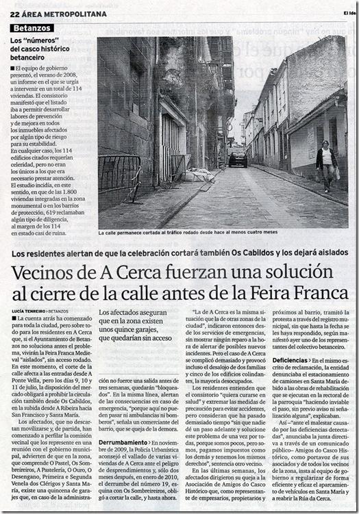 """Recorte do xornal """"El Ideal Gallego"""" correspondente ao mércores 16 de xuño de 2010"""