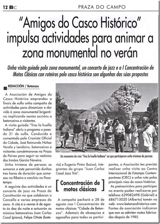 """Recorete do xornal """"Betanzos e a súa comarca"""" correspondente ao mes de agosto de 2010"""