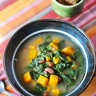 Bean, Bacon and Butternut Squash Soup with Swiss Chard