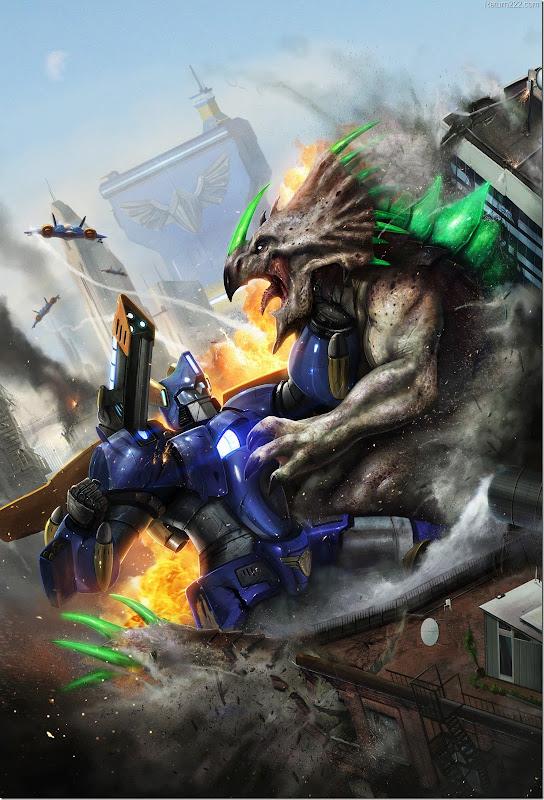 Robot_vs_Dino___by_adonihs