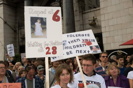 Victims of rape by Catholic priests protesting during visit of the criminal Joseph Ratzinger, the lying pope to Great Britain on September 18th, 2010