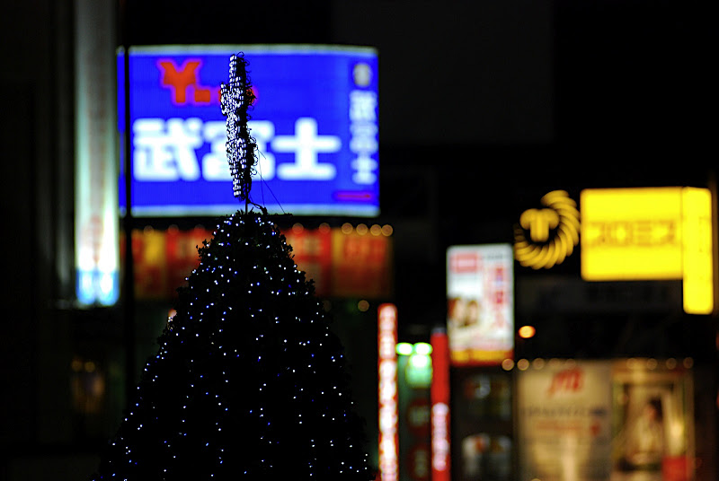 Christmas tree contrasts with Shinjuku's south eastern neon