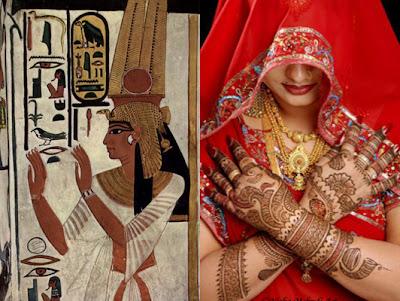 Nefertiti e a técnica Mehndi