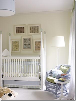 amy d morris white nursery with framed alphabets