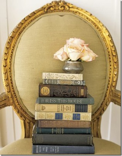 books and roses on chair via charm hill interiors blog via linen &amp; velvet