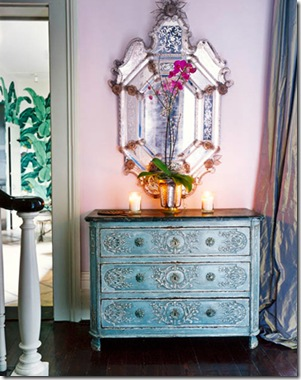 house beautifl etched venetian mirror and blue commode