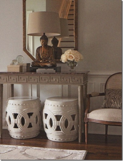 At Home mag Dovecote house via Elements of Style- garden stool vignette