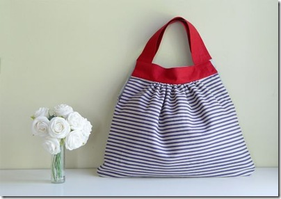 walking wardrobe striped bag and flowers