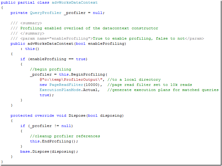 Example 1: a profiler enabled datacontext (C#)