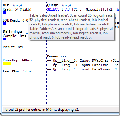 Sample Query #1 I/O after adding indexes
