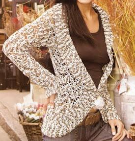 Chaleco matizado en colores pasteles tejido a crochet talla 40