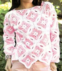 Sueter super femenino tejido a crochet talla 44