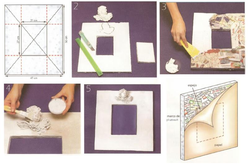 Original marco para espejo realizado con materiales - Como hacer un marco de fotos original ...