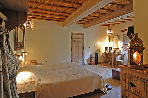 simple yet chic and authentic bedroom at the Kasbah