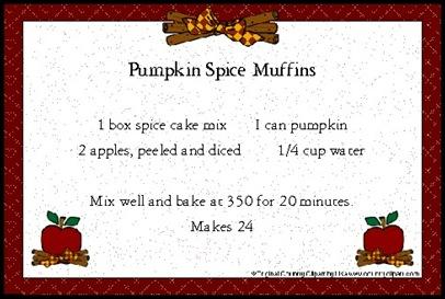 pumpkin spice muffins recipe card