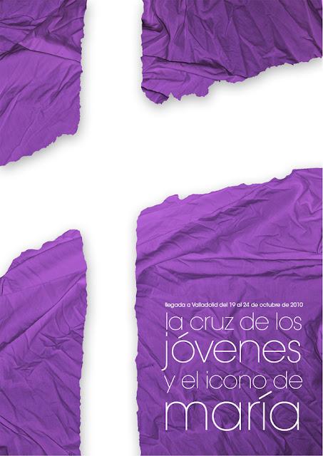 Poster para la visita de la cruz de los jovenes y el icono de maria a Valladolid