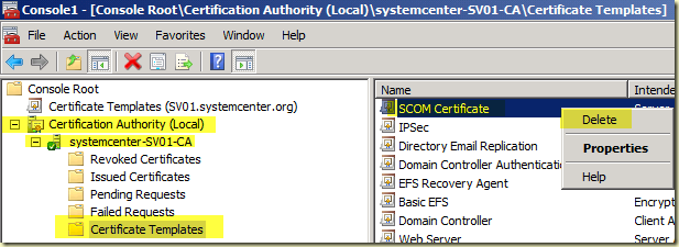 Thoughts on azure oms scom windows server 2008 r2 ca scom the scom certificate is now deleted from the local ca but still present as a certificate template within the certificate templates store yelopaper Image collections