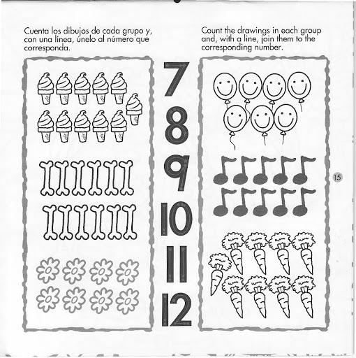 FICHAS CON LOS NUMEROS DEL 1 AL 12 EN INGLES PARA PINTAR