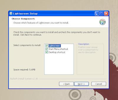 「Lightscreen」ダウンロードしてきたファイルを実行しインストール