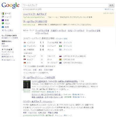 Googleで「ワールドカップ」を検索すると