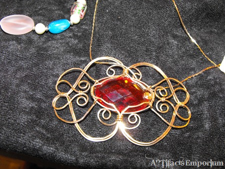 Wire Wrapped Pendant - Gold wire