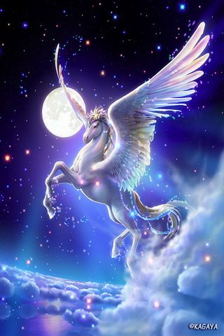 Flying pegasus fantasy graphic iphone wallpaper