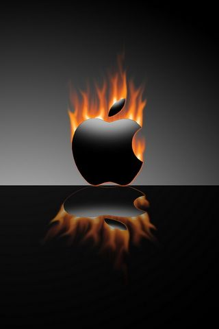 Burning Black Apple Logo iPhone Wallpaper