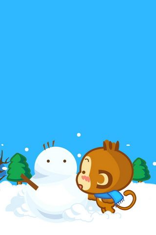 Yoyo Cici and Snowman iPhone Wallpaper