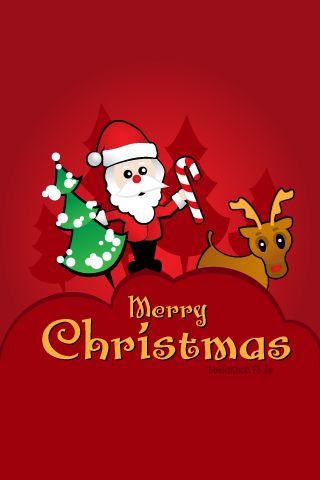 Cute Santa Claus and Reindeer iPhone Wallpaper