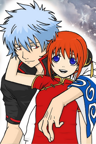 Gintama and Kagura Picture Graphic iPhone Wallpaper