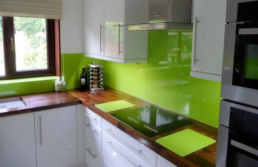 Colorful Glass Splashback Kitchen Design from Opticolor