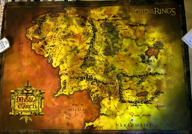 The Lord of the Rings paper map