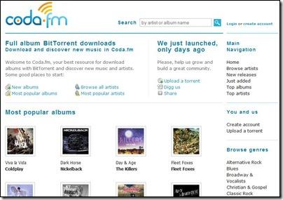 coda.fm, sito torrent musica