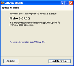 Firefox 3.6 RC2 update