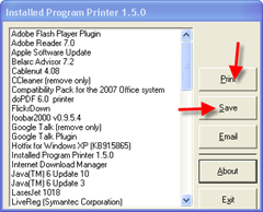 Printing installed programs list using Installed program printer