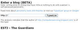 Typealyzer analysis of Blog