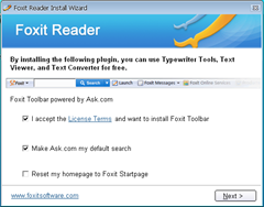 Foxit toolabr bundled with Foxit reader