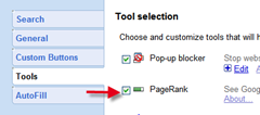 enable pagerank in Google tolabr