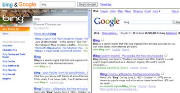 Compare Bing and Google in BingandGoogle