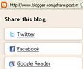 share button added to blogger navbar