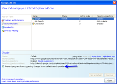 prevent changes to default search provider in IE8