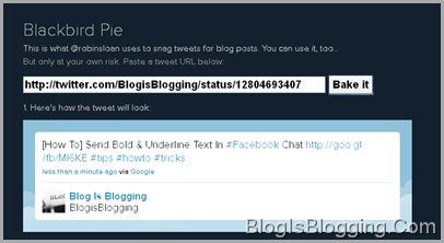 Bake it Twitter status And Embed It On Blogs